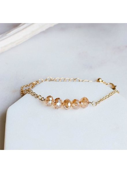 Pretty Simple Champagne 5 Stone Chain Bracelet