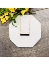 Pretty Simple Stone Black Marble Bar Necklace