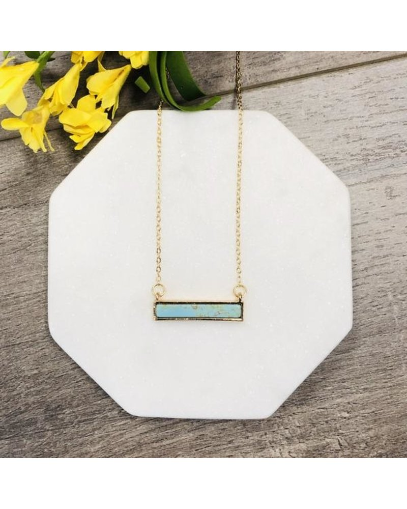 Pretty Simple Stone Turquoise Marble Bar Necklace