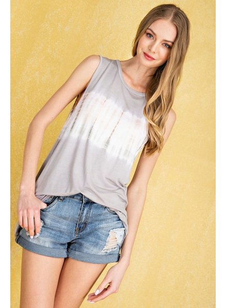 Faith Apparel Sleeveless Light Grey Tie Dye Top