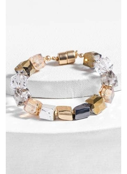 Saachi Gold Faceted Bead Stone Bracelet