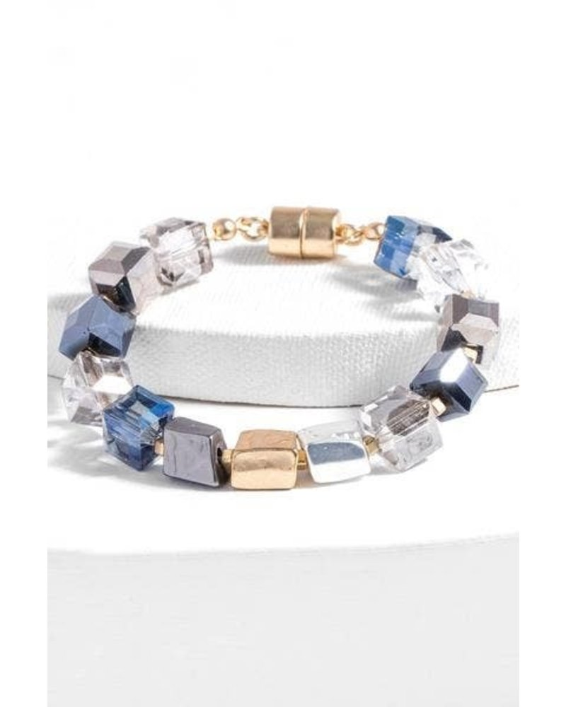 Saachi Navy Faceted Bead Stone Bracelet