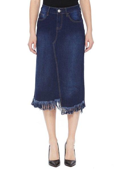 Mountain Valley Trading Frayed Asymmetrical Hem Denim Skirt