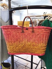 onigo Pink Ombre March Raffia Basket