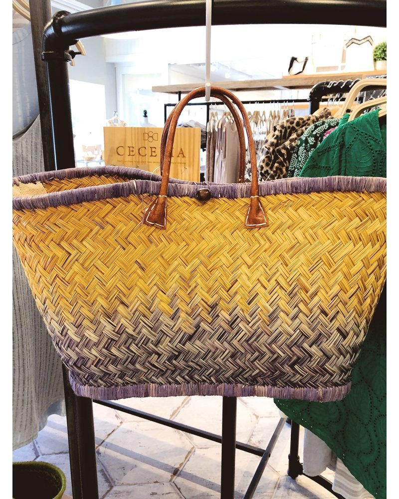 onigo Blue Ombre March Raffia Basket
