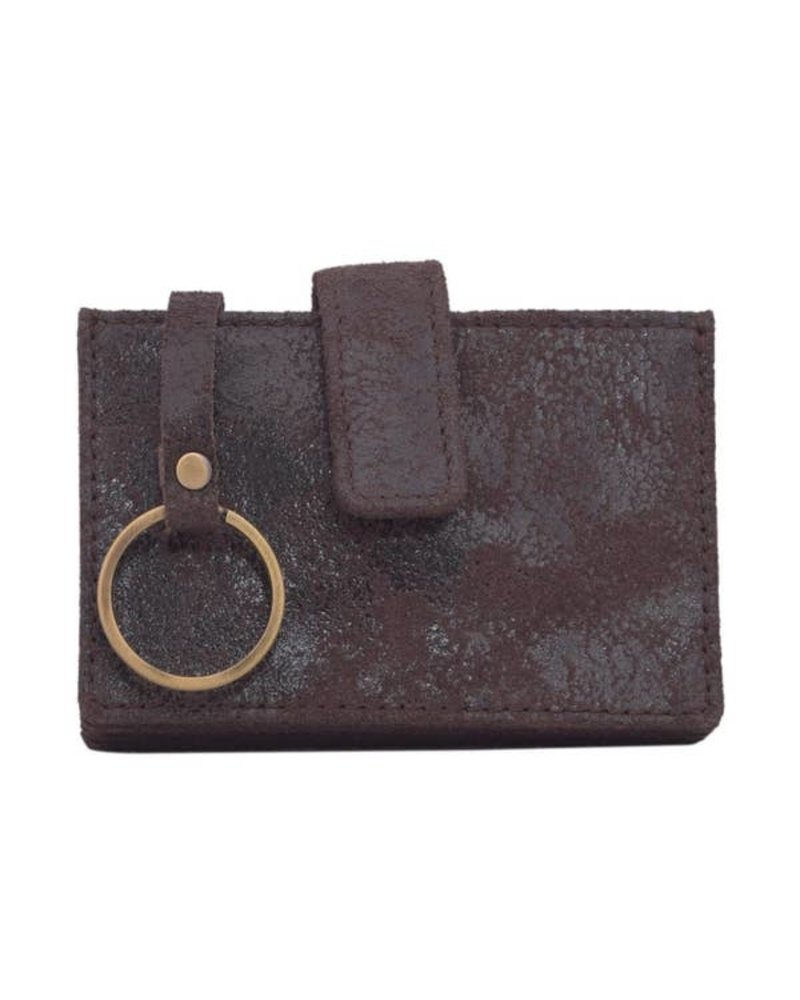 Latico Leathers Noelle Brown Leather Card Wallet W/Keyring