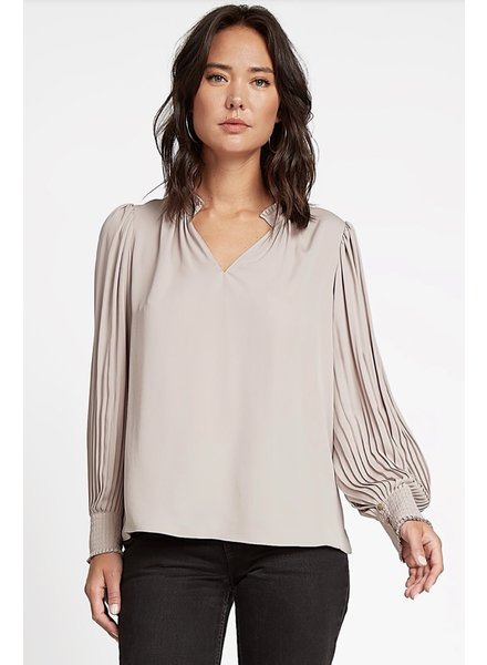 Current Air Taupe Pleated Collar Long Sleeve Woven Top