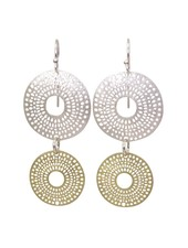 Takobia Two Tone Double Circle Post Earrings
