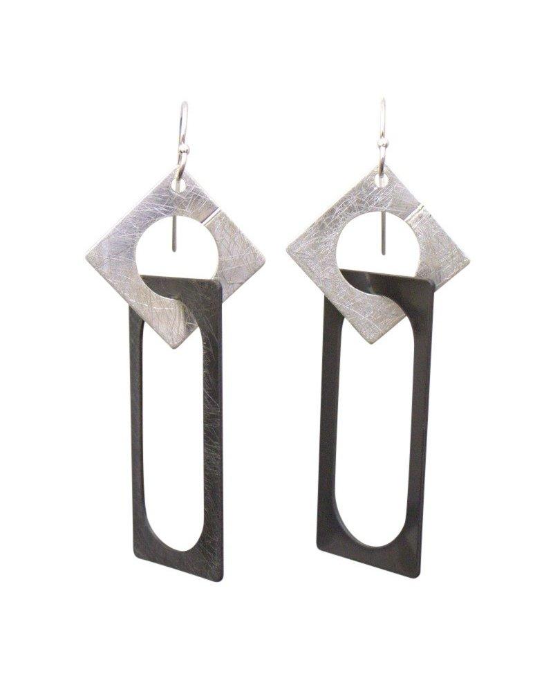 Takobia Two Tone Square & Rectangle Earrings