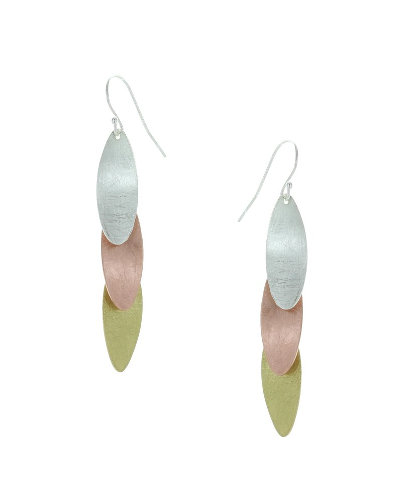 Takobia Tri Color Oval Drop Earrings