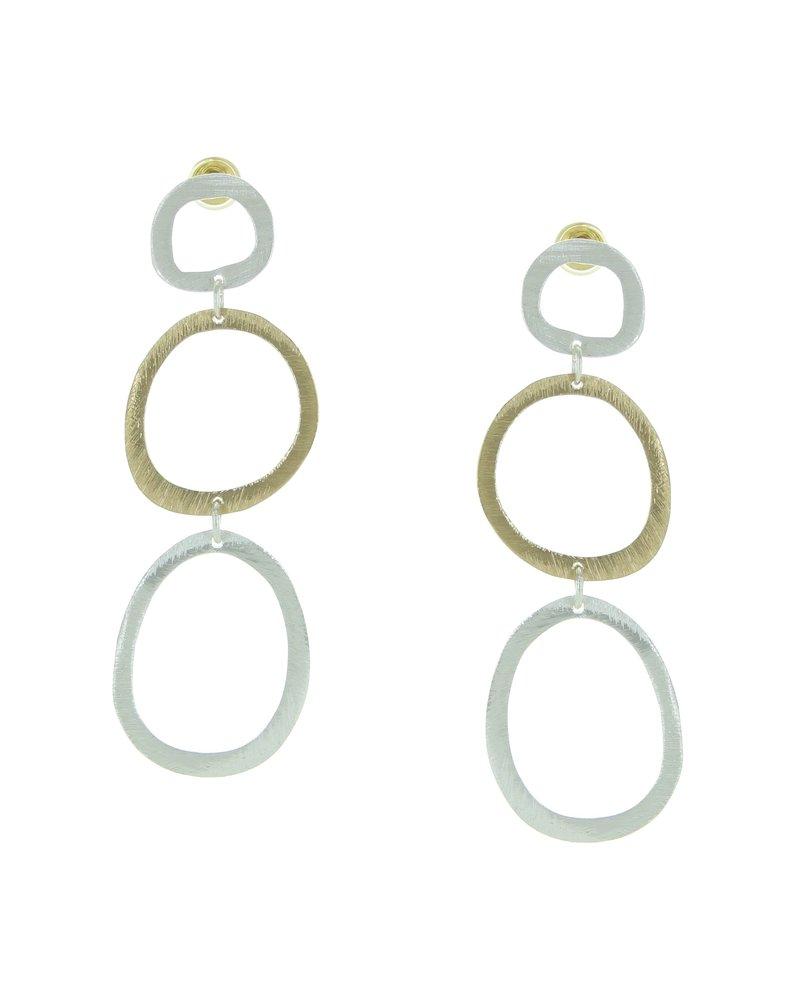 Takobia Two Tone Triple Circle Post Earrings