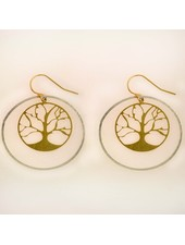 Takobia Gold Tree In Silver Hoops