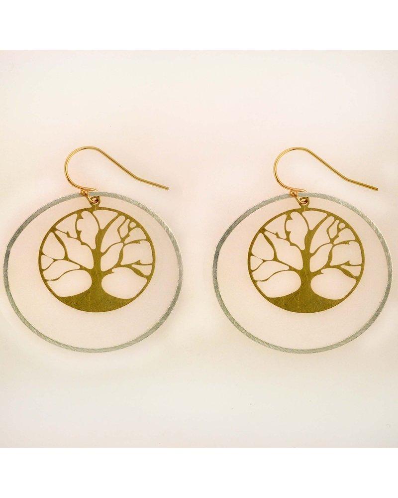 Takobia Gold Tree In Silver Hoops