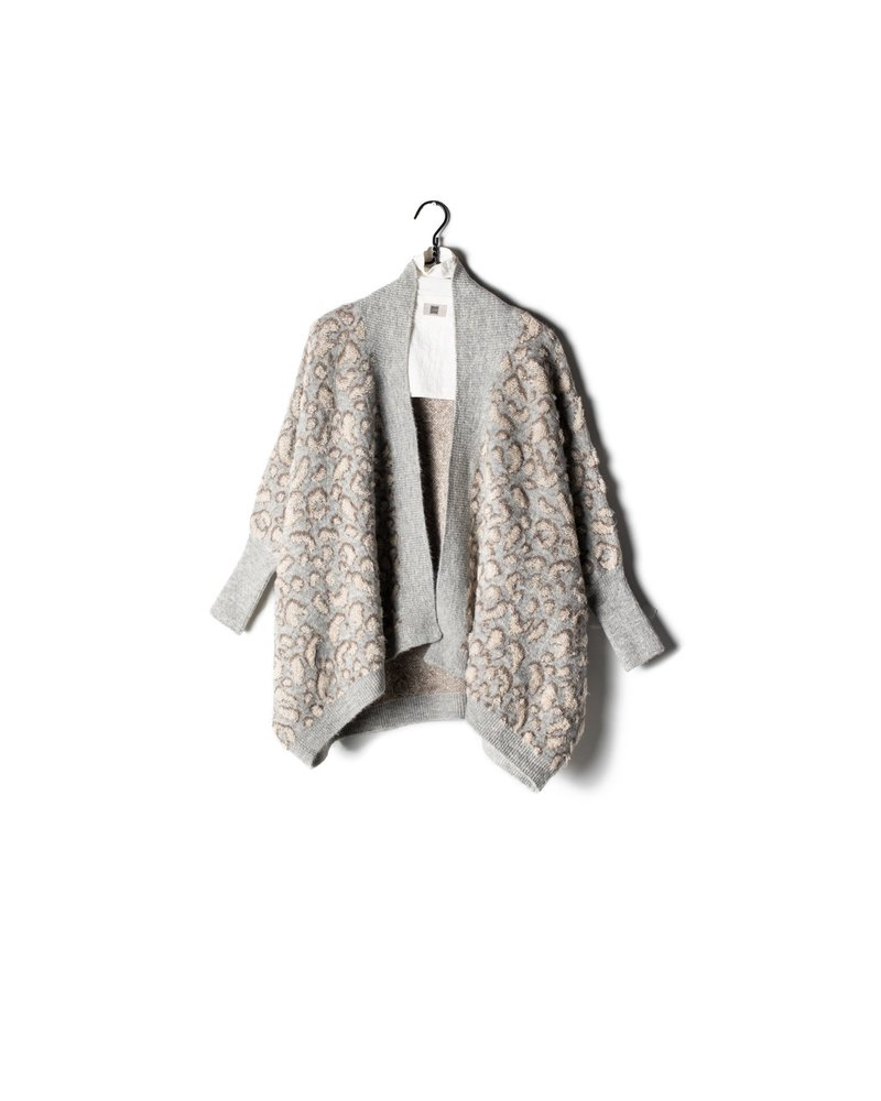 Look by M Boucle Grey Leopard Cape Cardigan