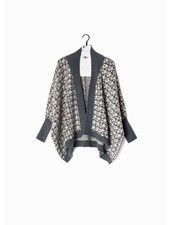 Look by M Boucle Grey Houndstooth Cape Cardigan