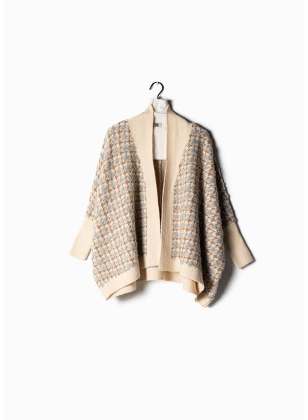 Look by M Boucle Ivory Houndstooth Cape Cardigan