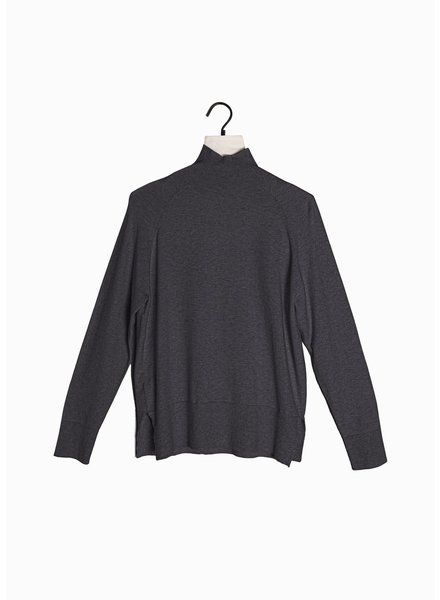 Look by M Charcoal Basic Mockneck Sweater