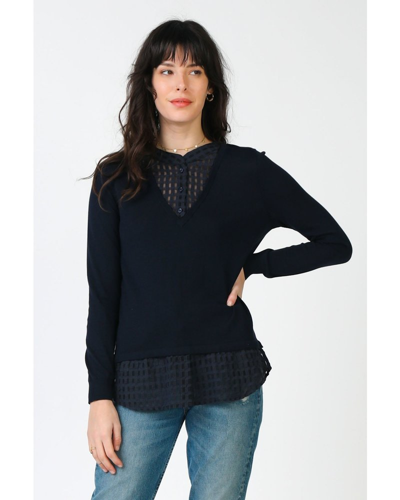 Current Air Navy Long Sleeve Sweater - Woven Detail