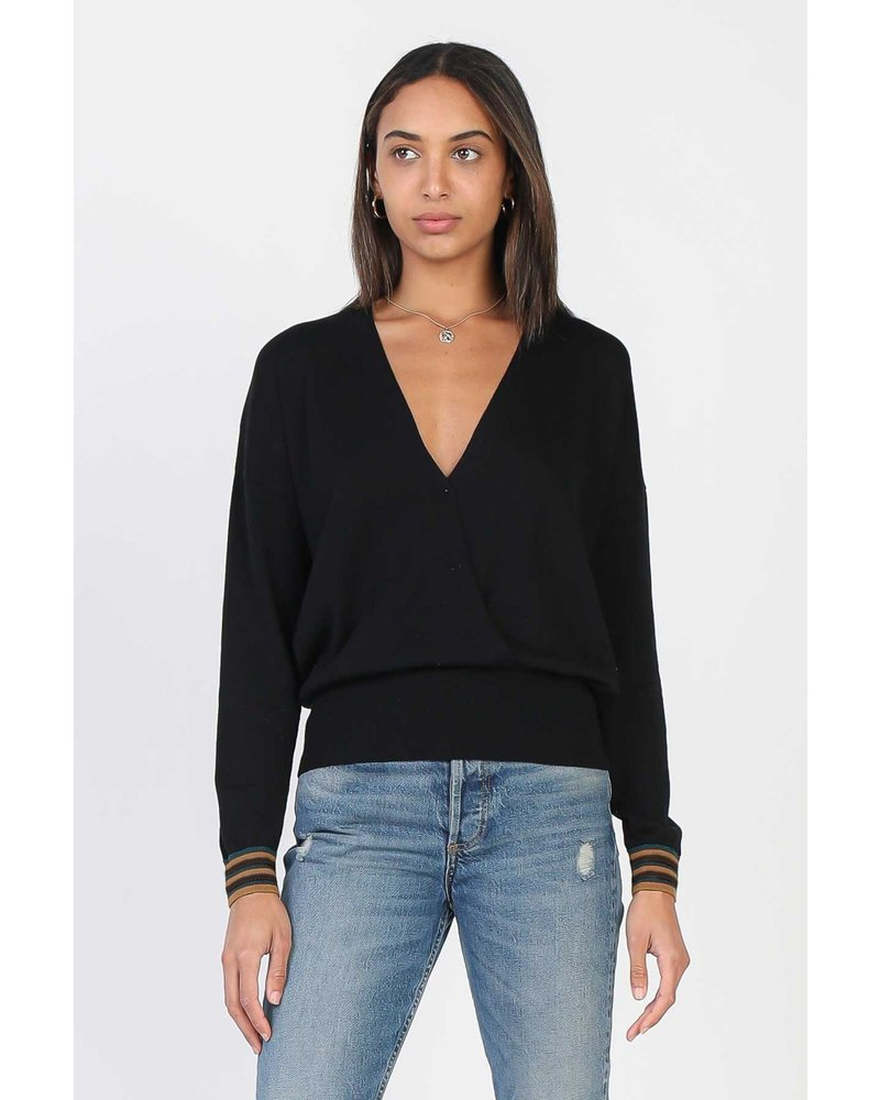 Current Air Striped Sleeve Black Overlap Sweater
