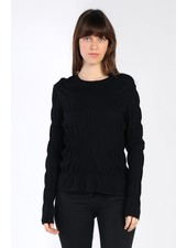 Current Air Black Sabrina Knit Rouched Sweater