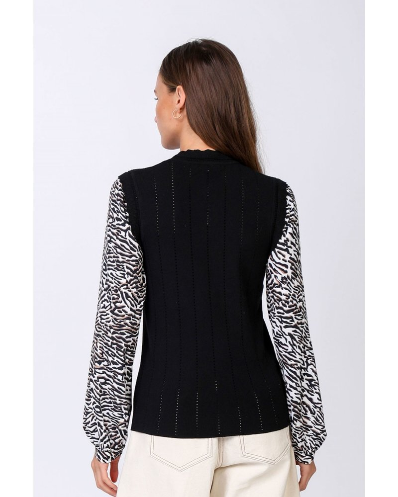 Current Air Black Sweater W/Zebra Contrast Sleeves