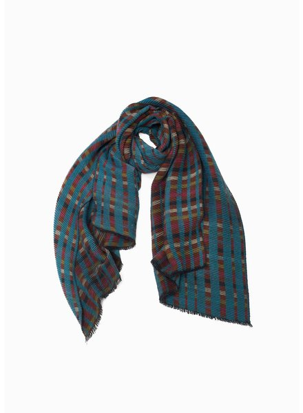 Look by M Teal Multi Chess Pleat Scarf