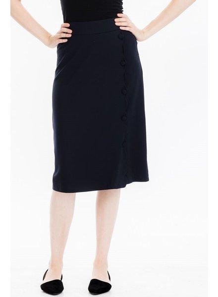 Tulip B Navy Mid Length Pencil Skirt