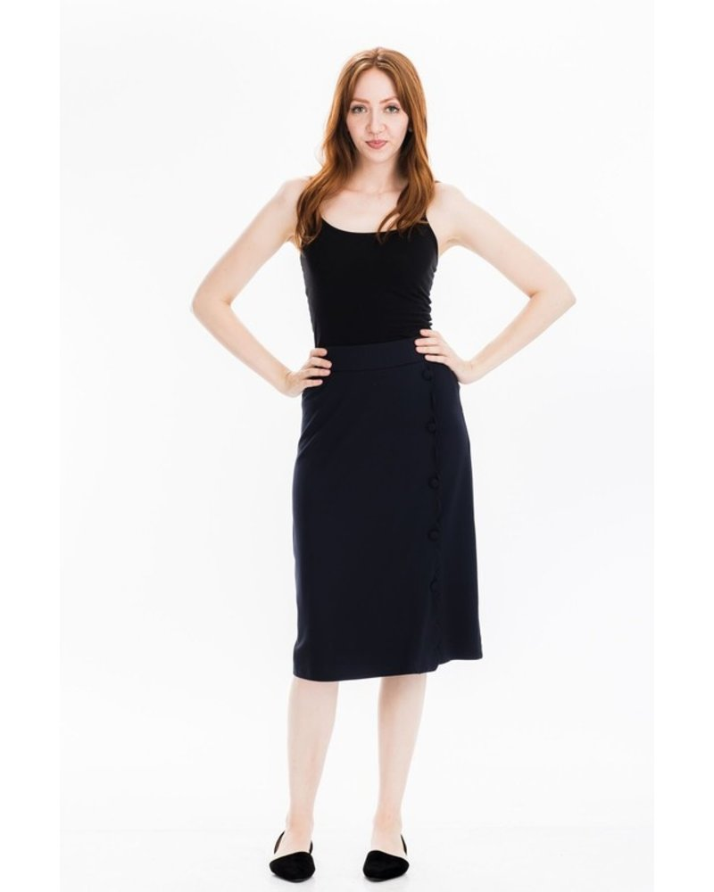 Tulip B Navy Mid Length Pencil Skirt
