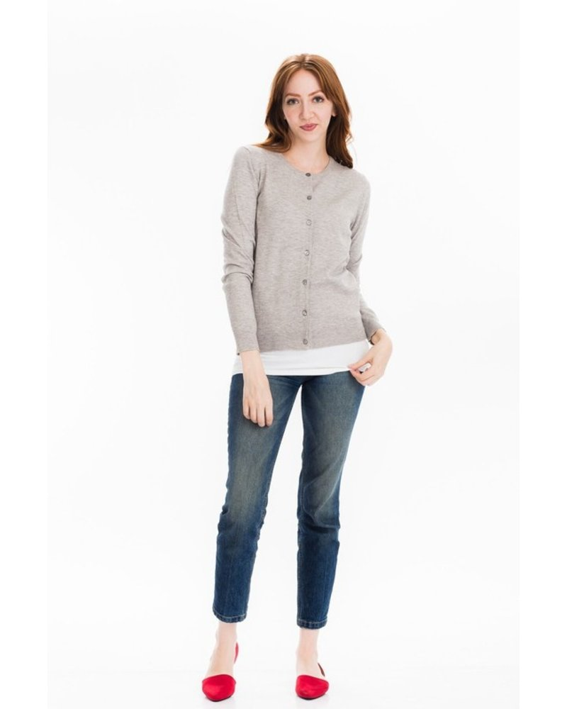 Tulip B Grey Traditional Button Front Cardigan
