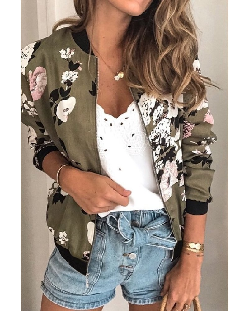 Mountain Valley Trading Floral Printed Bomber Jacket