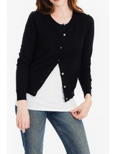 Tulip B Black Traditional Button Front Cardigan