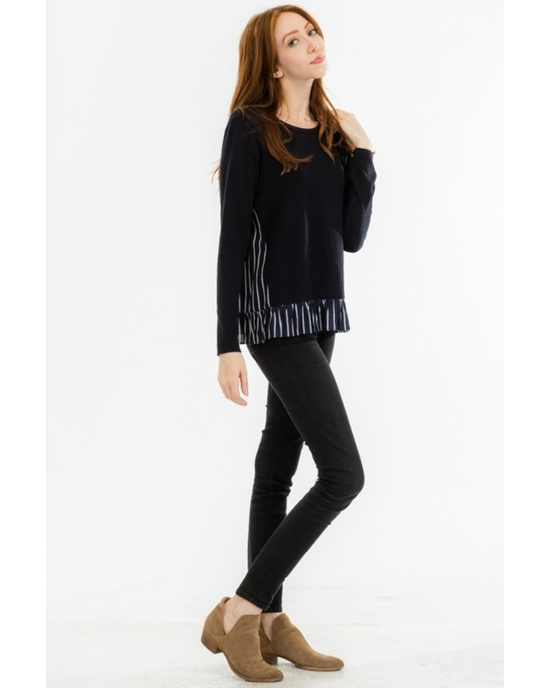 Tulip B Navy Pinstripe Ruffled Top