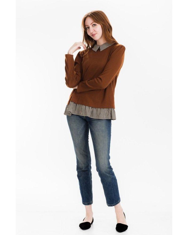 Tulip B Darla Knit Sweater W/Contrast Gingham Collar & Hem