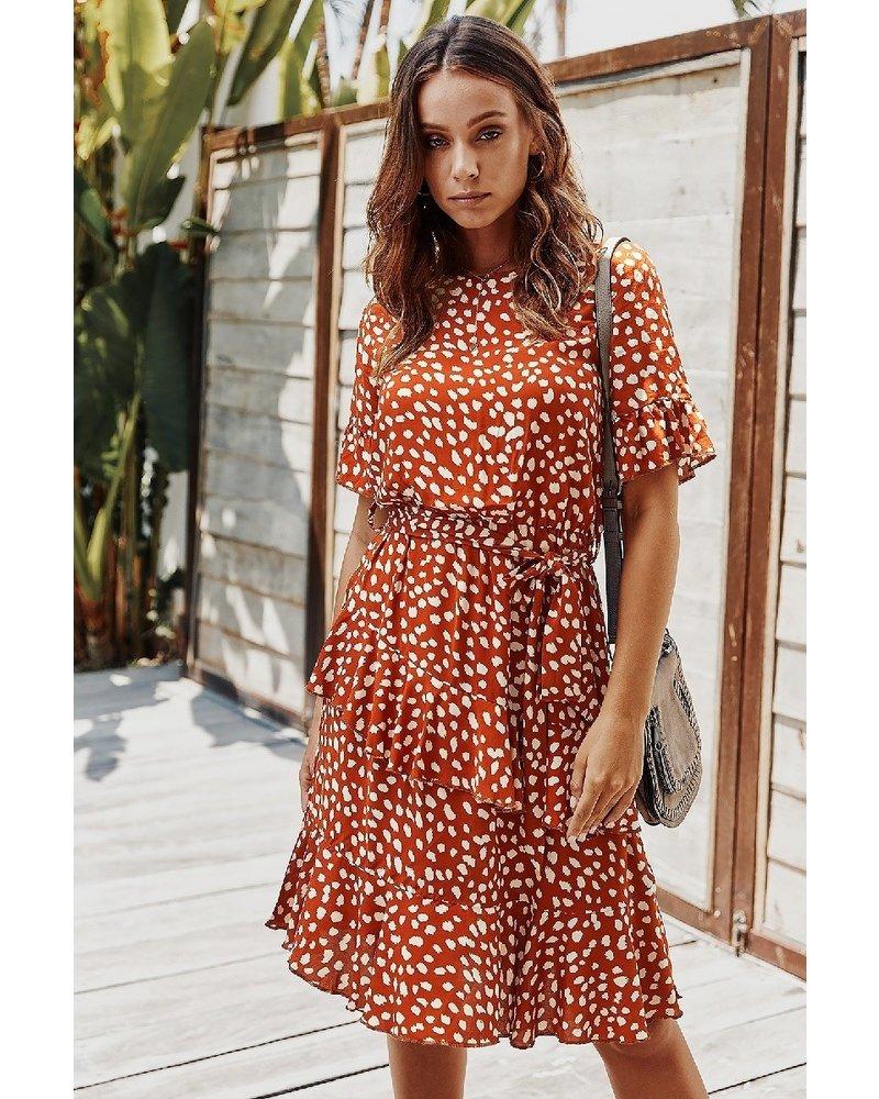 Mountain Valley Trading Rust Polka Dot Printed Crew Neck Dress