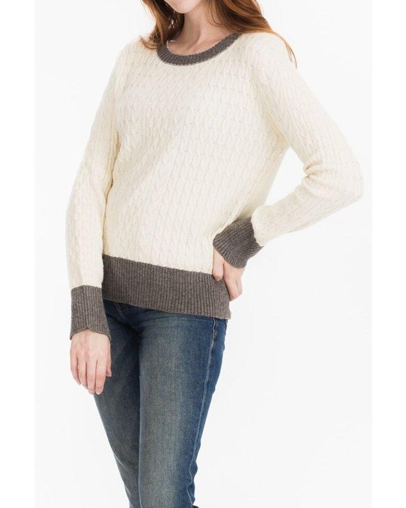 Tulip B Cream Cable Knit Sweater