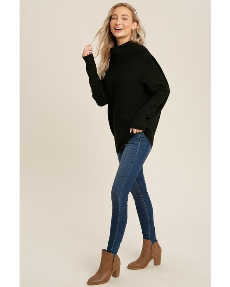 Trend Shop Black Slouch Neck Mia Sweater
