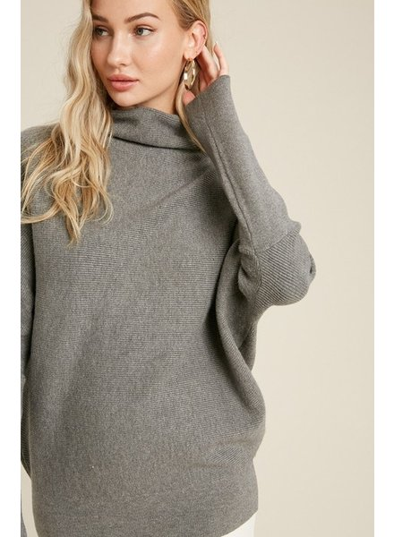 Trend Shop Dk Grey Slouch Neck Mia Sweater