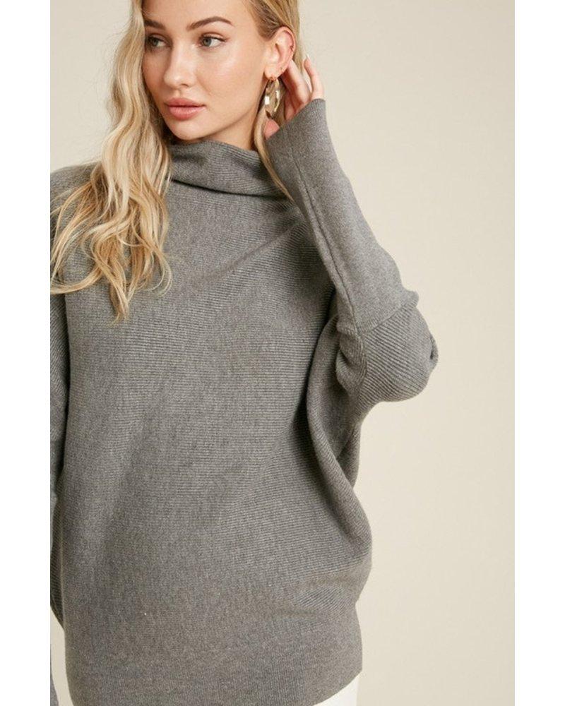 Trend Shop Dk Grey Slouch Neck Mia Sweater
