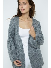 Trend Shop Handmade Grey Puff Sleeve Knit Cardigan