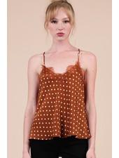Trend Shop Monica Burnt Orange Lace Trim Cami