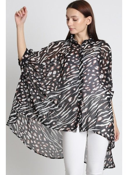 Trend Shop Courtney Mixed Animal Print Hi-Low Blouse