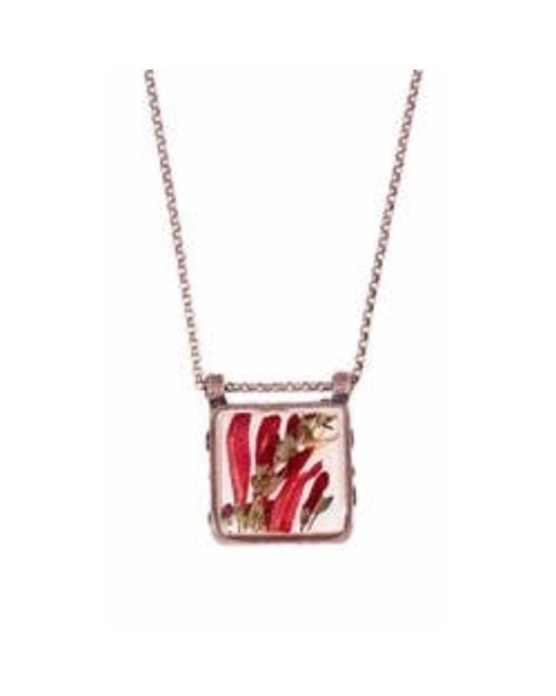 Shari Dixon Scarlet Gilia Linen Lg Square Necklace