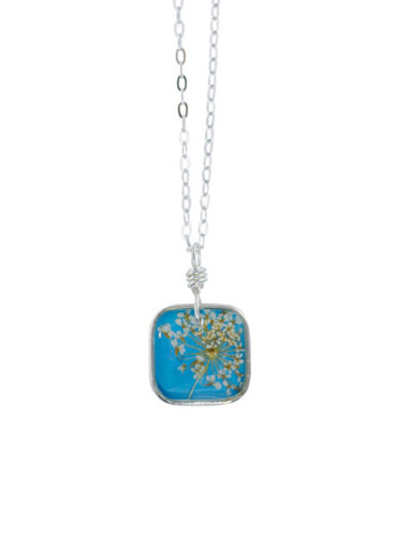 """Shari Dixon Laceflower Belize Breeze 16"""" Sml Square Necklace"""