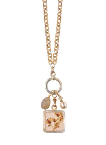 """Shari Dixon Silver Vine Small Sq. w/Bead Drops 16"""" Necklace"""