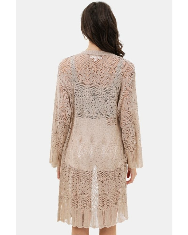 Trend Shop Khaki Lace Bell Sleeve Cardigan