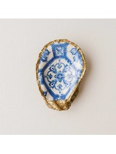 Grit & Grace Studio Moroccan Tile Indigo Decoupage Oyster Ring Dish