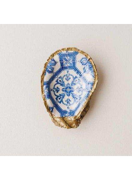 Grit & Grace Studio Moroccan Tile Indigo Decoupage Oyster Ring Dish