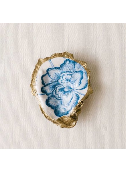 Grit & Grace Studio Peony Bloom Indigo Decoupage Oyster Ring Dish