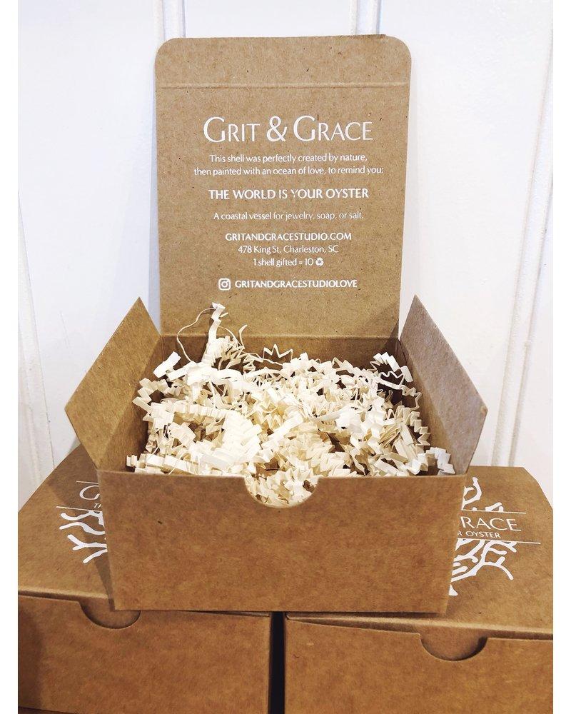 Grit & Grace Studio Peony Bloom Indigo Decoupage Oyster Ring Dish