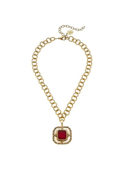 Susan Shaw French Red Glass W/Handcasted Gold Chain